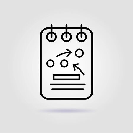 Team work. Strategy visualization line icon on gray background