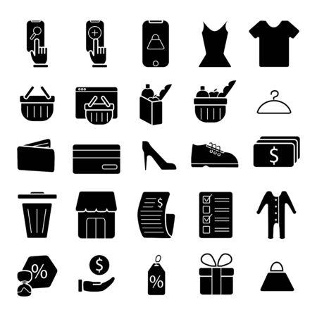Online shopping and ecommerce black icon set on a white background Ilustração