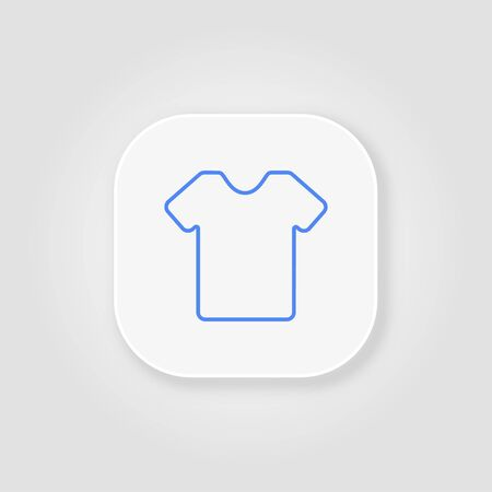 T-shirt blue clothes line icon on a gray background with soft shadow Çizim