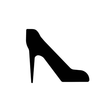 Women's high-heeled shoes. Vector black icon on a white background