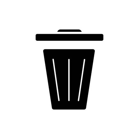 Recycle bin black icon on a white background