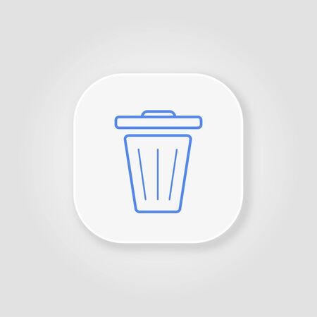 Recycle bin blue line icon on a gray background with soft shadow Иллюстрация