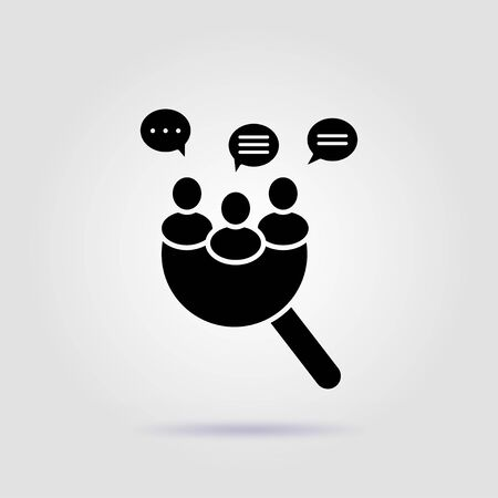 Focus group black icon on a gray background with soft shadow