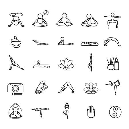 Yoga set line icons on a white background Vettoriali