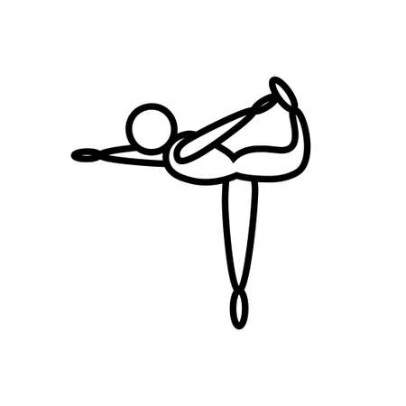 Yoga swallow pose line icon on a white background  イラスト・ベクター素材