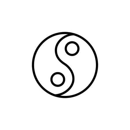 Yoga yin and yang symbol line icon on a white background Vettoriali