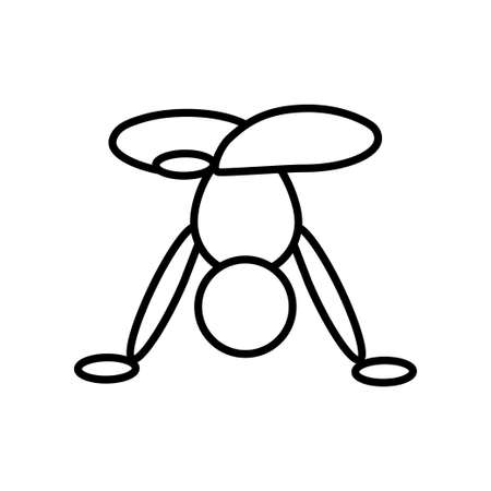 Handstand pose yoga line icon on white background Vettoriali