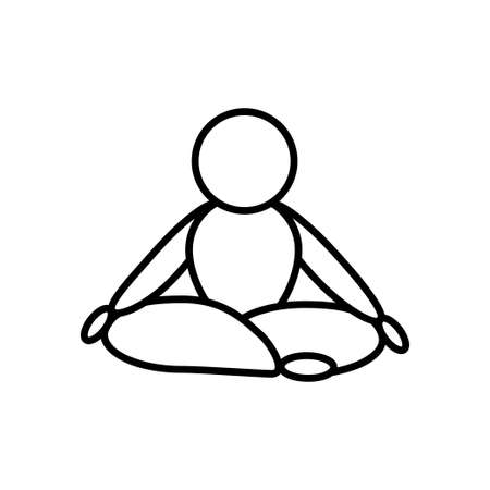 Lotus pose yoga  line icon on a white background. Outline design symbol.