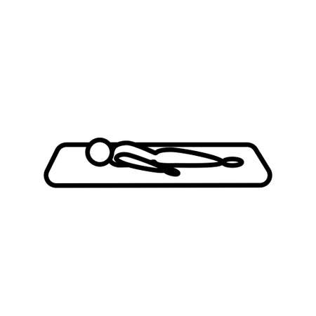 The character lies on a yoga mat line icon on a white background Vettoriali