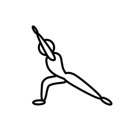 Virabhadrasana pose yoga line icon on white background