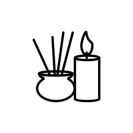 Yoga aroma candles line icon on white background