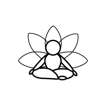 Yoga lotus pose line icon on a white background. Outline design symbol.