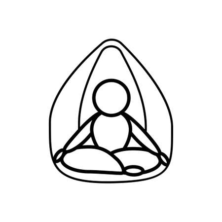 Yoga lotus pose meditation line icon on a white background. Outline design symbol.
