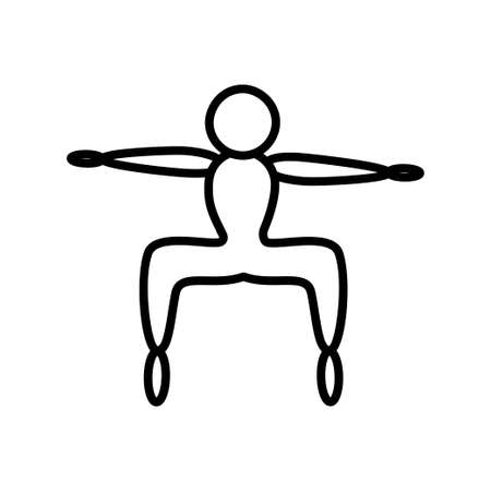 Yoga pose doodle style line icon thin line for web and mobile, modern minimalistic flat design