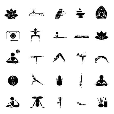 Yoga set black icons on a white background Illusztráció