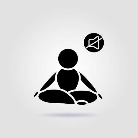 Lotus pose yoga black icon on a gray background with soft shadow