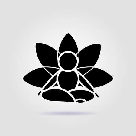 Yoga lotus pose black icon on a gray background with soft shadow
