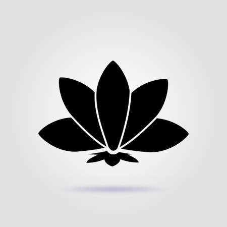 Yoga lotus sign meditation black icon on a gray background with soft shadow