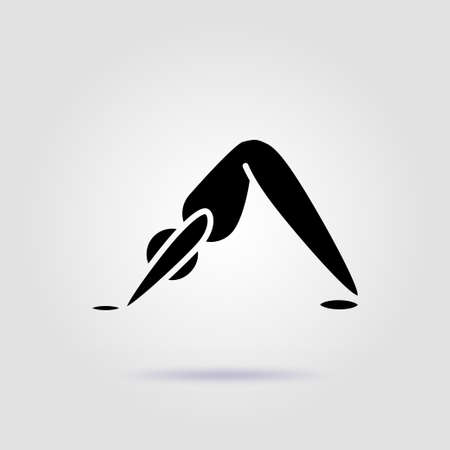 Yoga pose adho mukha svanasana black icon on a gray background with soft shadow Illusztráció