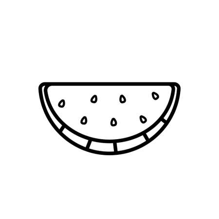 Watermelon wedge line icon isolated on a white background