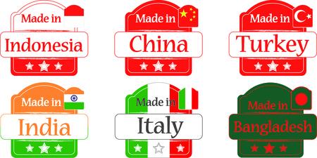 undertake: Made in Bangladesh-China-India-Turkey-Indonesia-Italy , vector, web