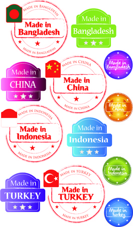 Made in Bangladesh-China-Turkey-Indonesia, vector, web Vector