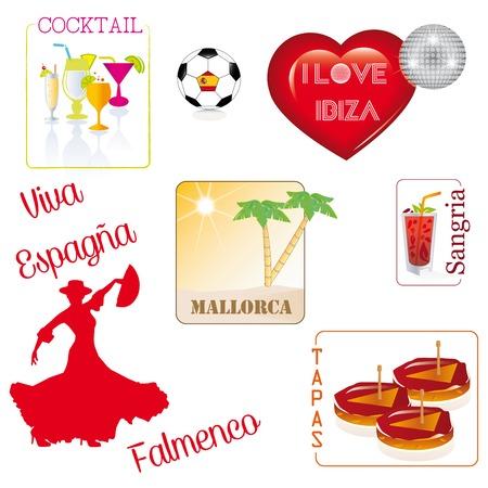 pictogramme: Spain- flamenco- tapas - ibiza- i love - cocktail - Espana