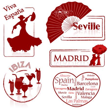 Spain - Espana -Seville - Madrid- Ibiza- Madrid - Barcelona- Valencia Vector