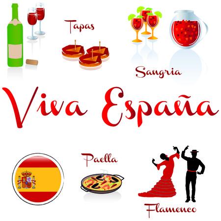 Viva Espana - wine - tapas- sangria- Paella - Flamenco Vector