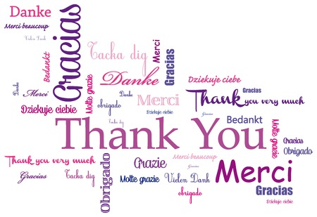 better button: Thank you - Gracias -Merci- message Illustration