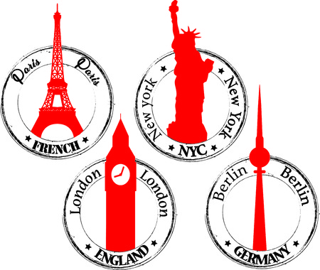 Stamp Paris NYC London- Berlin Vector