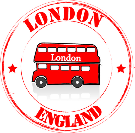 double decker: Stamp London Illustration