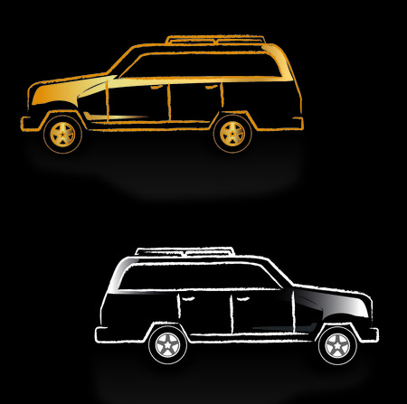 Background black with cars Vector