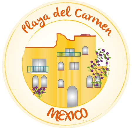 del: Stamp Playa del Carmen Illustration