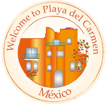 mexico beach: Stamp Welcome to Playa del Carmen Illustration