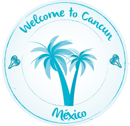 cancun: Stammp Welcome to Cancun Illustration