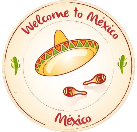 Stamp Welcome to México Vector
