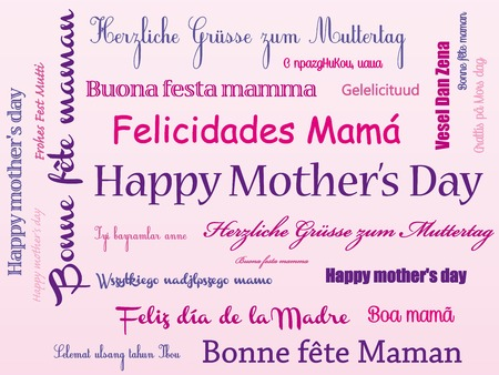 Happy mother's day in different language  Vettoriali