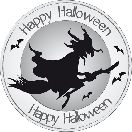 Happy Halloween witch stamp