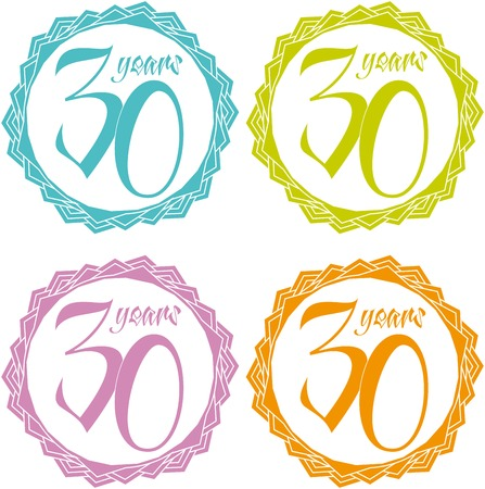 30 years colorful vector. Vettoriali