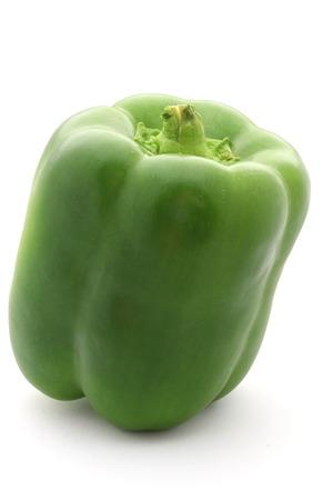 capsicum: Green Capsicum on White Background Stock Photo