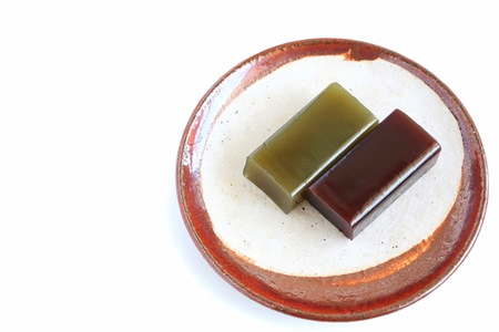 Japanese Sweet Bean Paste Jelly on White Background Banco de Imagens