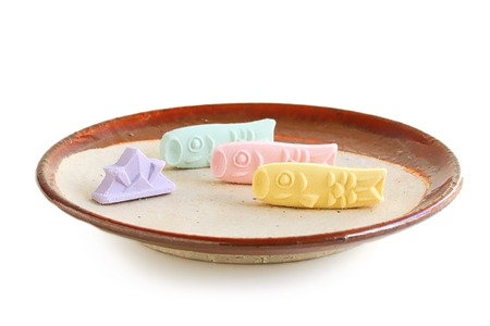 Traditional Japanese Sugary Candy for Childrens Day on White Background