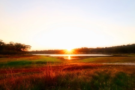 Beautiful Sunset At Storm King Dam In Stanthorpe, Queensland, Australia