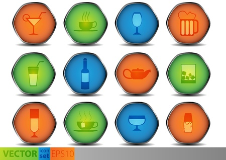 Set of colored glossy icons Vector