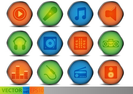 Set of colored glossy icons Stock Vector - 12915214