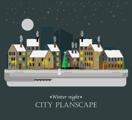 Winter night city background Vector