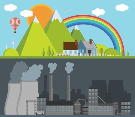 polluted cities: Factory and nature illustration