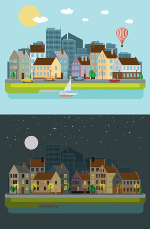 Cityscape, day and night Vector