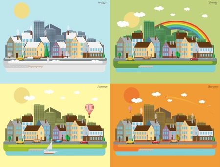 Landscape city of four seasons Vector